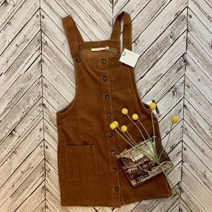 NEW boutique corduroy overall dress in camel